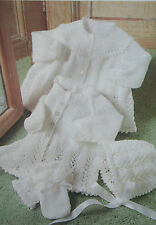 Baby's Matinee Coat/Jacket, Bonnet and Mittens Knitting Pattern BP102