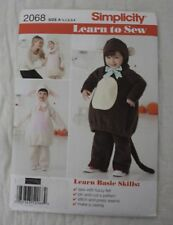 Simplicity 2068, Learn to Sew Pattern, Lamb/ Mouse Size 1/2,1,2,3,4 Uncut