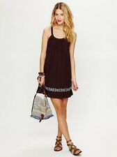 FREE PEOPLE NATIVE SUN SHIFT Dress Brown X-Back Cotton Dress Sz S ANTHROPOLOGIE
