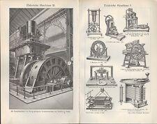 Lithografie 1905: Elektrische Maschinen. Wechsel-Strom-Maschine Dynamo Seitenpol