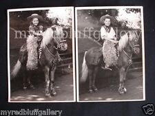 Children Cowboy and Cowgirl on Pony in Western Outfit