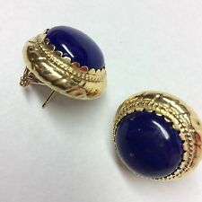 CABOCHON LAPIS IN 18K YELLOW GOLD EARRINGS