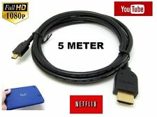 5 METER 1080p Micro HDMI to HDMI Cable Lead For LENOVO S6000 Tablet to TV