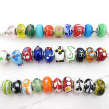 30pc Mixed Lots Bulk Charms Lampwork Glass Spacer Beads Fit European Bracelet FW