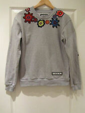 HOUSE OF HOLLAND FLORAL PATCH GREY SWEATSHIRT SIZE 8 BOYFRIEND FIT