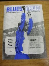 20/09/1975 Birmingham City v Burnley  (Light Crease, Scores & Subs Noted). Trust