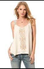 NWT MISS ME Sleeveless Embroidered Trails Tank Top Shirt  MDT1105T Women Cream S