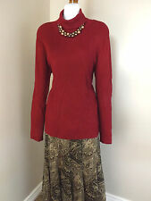NEW Coldwater Creek Ribbed Turtleneck Sweater M 10 12 Red Knit Top Long Womens