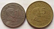 Philippine coin 1 Piso (2002) & 5 Piso (2009) 2 pcs