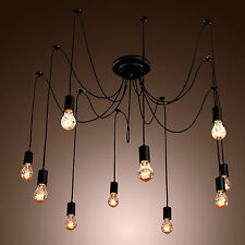 Edison Style 10 Lights Bulb Chandelier Ceiling Light Pendant Lamp Fixture