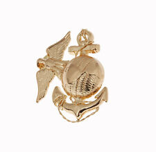 WWII USMC OFFICER EGA BARRACKS METAL HAT BADGE GOLD -33803