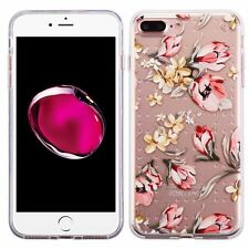 For Apple iPhone 7 Plus Pink Flowers Rubber Case