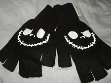 NWT The Nightmare Before Christmas Jack B&W Skulls Face Fingerless Gloves Disney