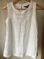 New Look Size 10 White Crinkle Embroidered Sleeveless Top  T10268
