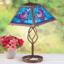 Solar Powered Glass Butterfly Outdoor Porch Patio Table Lamp
