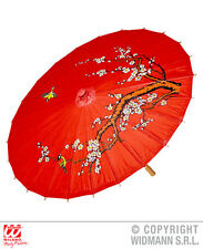 Red Rice Paper Oriental Parasol W/Wooden Structure Chinese Japanese Fancy Dress