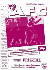 Football Programme AFC BOURNEMOUTH v OXFORD UNITED Nov 1994 Auto Windscreens