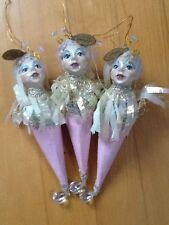 LOT OF 3 KATHERINES COLLECTION WHIMSICAL LADY CONE CHRISTMAS ORNAMENTS