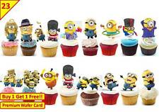 46 Minions Despicable Me 2015 Birthday Cup Cake Toppers Wafer Edible *Stand up