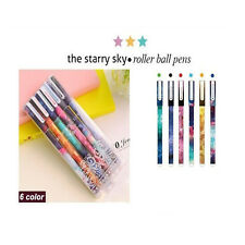 6pcs/set Starry Pattern Gel Pen Writting Supply Colors Ink Roller Ball Pen Cool