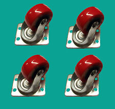 4 Heavy Duty Swivel Castors Polyurethane 50mm Long Life wheels hold up to 200kg