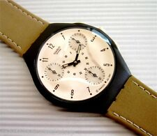 KALAHARI! Striking SKIN CHRONO Swatch with Brown KHAKI Leather Band! NIB-RARE!