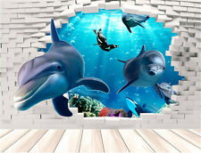 Dolphin 3D Wall Mural Removable Wall Sticker Art Vinyl Decal Room Decor