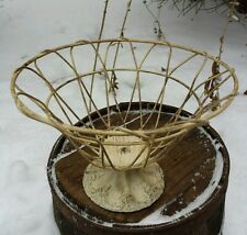 Vintage Shabby Chic Style Heavy Wire Cast Iron Base Fruit Basket Bowl Metal Dish