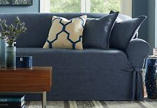 Sure Fit Sofa Slipcover Textured Linen One Piece Box Style Seat Cushion Indigo