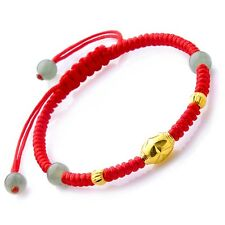 Hot Sale New Pure 24k Yellow Gold Fine Carved Elegant Beads Knitted Bracelet