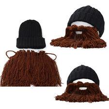 Men's Winter Warm Wool Handmade Crocheted Funny Beard Knit Ski Beanie Hat Cap