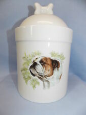 English Bulldog Dog Porcelain Treat Jar Fired Head Decal on Front 8 In Tall