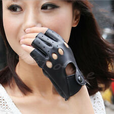 Womens PU Leather Gloves Half Finger Fingerless Stage Punk Cycling Driving Dance