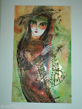 Cuban Cuba Artist Charo Hand SIGNED PaintiNG LADY DRAGONFLY GREEN  ART HAVANA 31