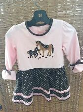Toffee Apple Toddler Girls Pink 100% Cotton Horse Dress 2T