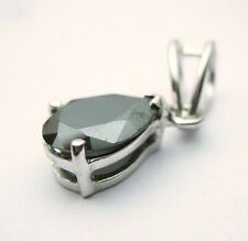 3.47ct Jet Black pear cut Solitaire Sterling silve Pendant for chain NR $ 247
