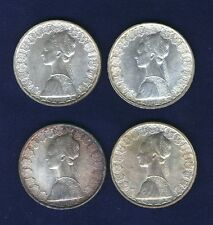 ITALY 500 LIRE SILVER COINS: 1958, 1959, 1960, & 1961, BRILLIANT UNCIRCULATED