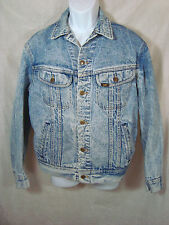 Vintage 80's Mens Lee Trucker Denim Jacket Acid Wash  PATD 153438 Size M  Blue