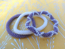 Set of Three Purple ,White Crocheted Beaded Bracelet, Handmade in Nepal, Roll on