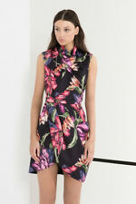 Cameo above You Floral Pink Black White Night Lily Short Mini Dress M L 10 12 14