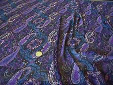 ITALIAN CRINKLE CHIFFON PAISLEY PRINT-BLACK/PURPLE/BLUE-DRESS FABRIC-FREE P&P