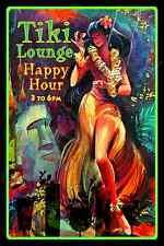 *TIKI HAPPY HOUR* LOUNGE BAR LUAU MAUI HULA DANCER MADE IN HAWAII! METAL SIGN