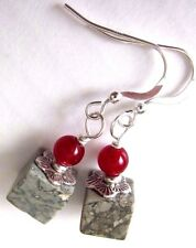Earthy Natural Red Jade Grey Owyhee Jasper Cube 925 Silver Kirsten EARRINGS USA
