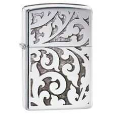 High Polish Chrome Filigree Zippo Lighter - Pocket Gift Smokers Accessory