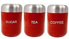 SET OF STAINLESS STEEL COFFEE TEA SUGAR STORAGE JARS CANITISER CONTAINER STRONG