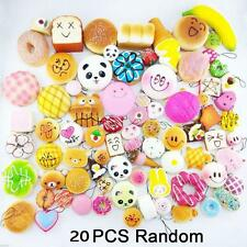 20Pcs Jumbo Medium Mini Squishy Soft Panda/Bread/Cake/Buns/Donuts Phone Straps