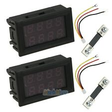 2 Set 200V 100A DC Digital Voltmeter Ammeter LED Amp Volt Meter + Current Shunt