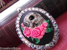 VALENTINES DAY SKULL PINK ROSE RHINESTONE GOTHIC WEDDING ROCKABILLY NECKLACE