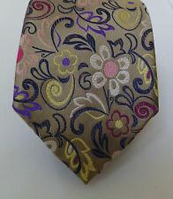 DUCHAMP London Floral Silk Necktie Beige Purple Leaf Yellow NWT Tie