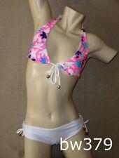 Sexy PINK & WHITE STAMPED Brazilian BOYSHORT Bikini Swimsuit Swimwear NWT Small